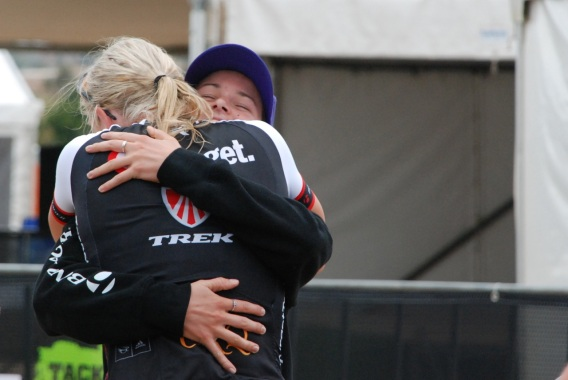 XC National Champs and Target Trek teammates, Rebecca Henderson and Peta Mullens, share the emotion that comes from an exciting day's riding.