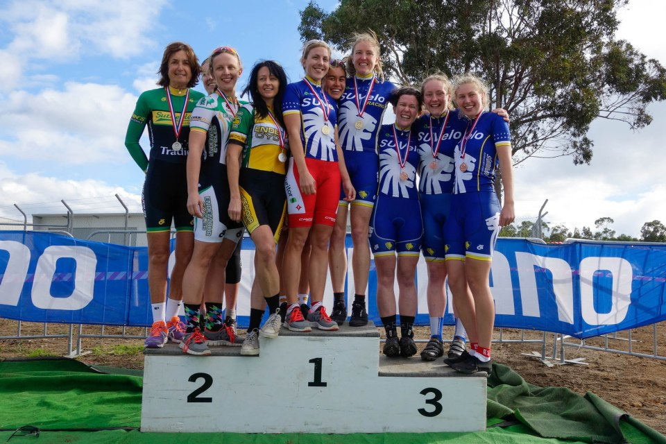 The Elite Women's pode.
