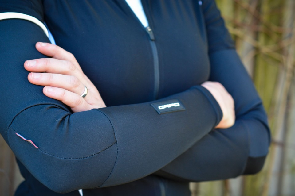 Other staples, such as unisex undershirt and fleece arm warmers, increase functionality but struggle a little to accommodate the capped sleeves.
