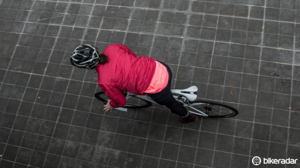 The Women's Rain Bomber adds visiblity and protection while commuting, but is constructed to keep women warm off the bike as well.