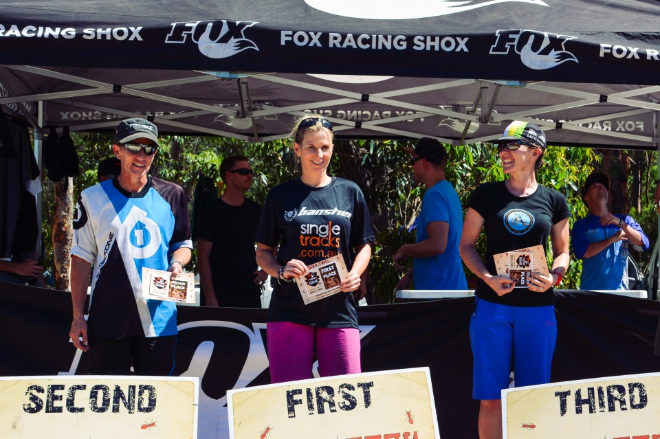 The Elite Women's podium. L-R Joanne Fox, Ness Thompson, Beaming Bicksy.