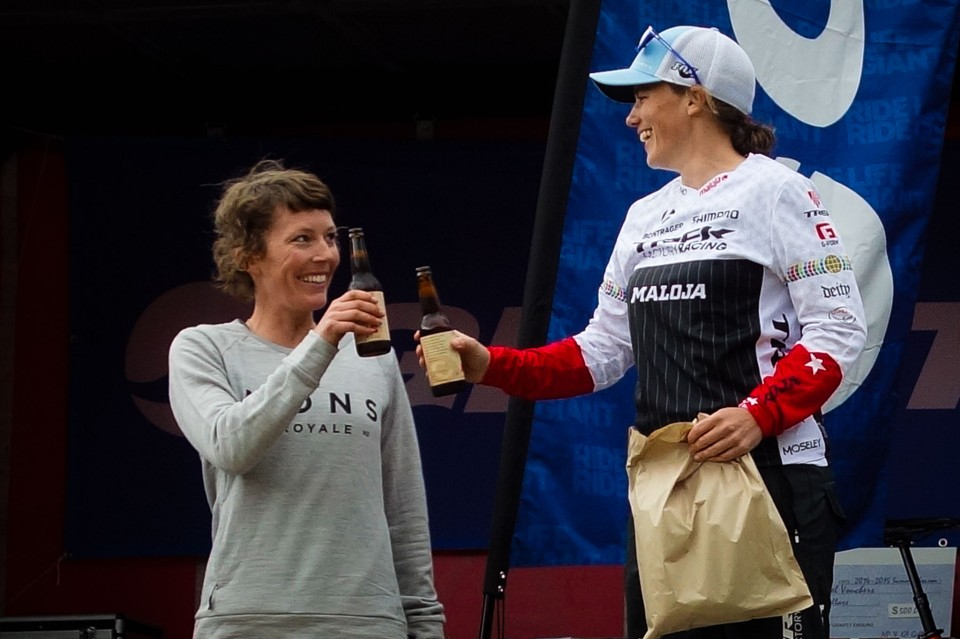 Even the top riders keep chasing new experiences within the sport. Rosara Joseph and Tracy Moseley share a post race podium brew.