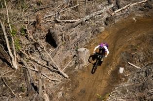 Hannah Barnes on the freshly logged (and built) K2 trail (Paris Gore)
